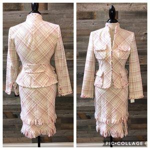 NWT Anne Kline Tweed Fringe Skirt Suit 6P